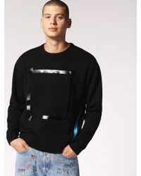 DIESEL - Pullover With Front Tape And Side Stripe - Lyst