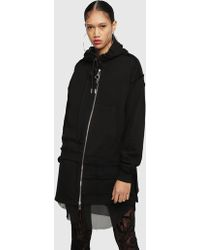 DIESEL - Long Hooded Coat In Cotton-fleece - Lyst