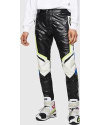 DIESEL Astars-ptre Leather Biker Pants With Fluo Details - Black