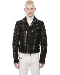 DIESEL Landito Leather Jacket With Studs Decoration - Black