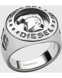 """DIESEL Dx1231 """"only The Brave"""" Engraved Stainless Steel Signet Ring - Metallic"""
