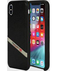 DIESEL Black Leather Diagonal Logo Case, Iphone Xs Max