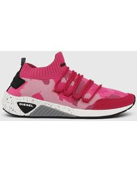 DIESEL S-kb Sl W Slip-on Sneakers In Camouflage Knit - Pink