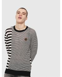DIESEL Linen Sweater With Stripes - Black