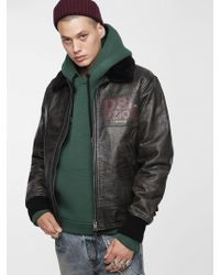 DIESEL - Treated Leather Bomber Jacket - Lyst