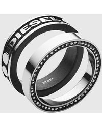 DIESEL - Stainless Steel Ring Set - Lyst