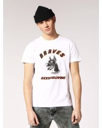 DIESEL - Smooth Cotton Jersey T-shirt With Print - Lyst