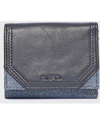 DIESEL - Tri-fold Wallet In Denim And Leather - Lyst