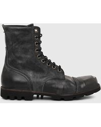 DIESEL Hardkor Boots In Sturdy Treated Leather - Black