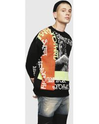 DIESEL Jacquard-knit Wool Blend Pullover - Black