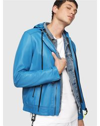 DIESEL L-restil Hooded Jacket In Leather And Jersey - Blue