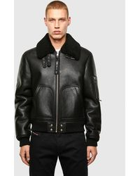 DIESEL L-arnold Shearling Aviator Jacket - Black