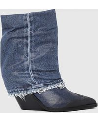 DIESEL Cowboy Ankle Boots In Shiny Denim - Blue
