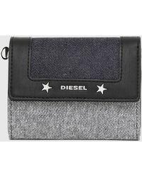 DIESEL Denim Card Case With Star Studs - Gray