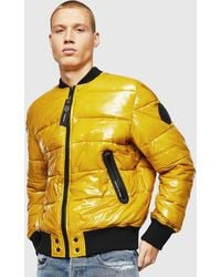 DIESEL W-on Padded Bomber Jacket In Coated Nylon - Yellow