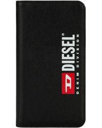 DIESEL Black Leather Printed And Debossed Logo Case, Iphone Xs & X