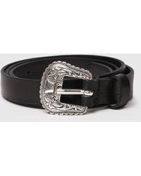 DIESEL B-texy Leather Belt With Floral Embossed Hardware - Black