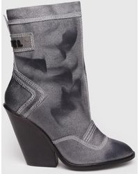 DIESEL - Waxy Suede Ankle Boots With Cuban Heel - Lyst