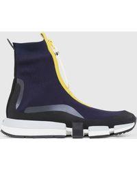 DIESEL High Top Sock Sneakers With Zip Closure - Blue