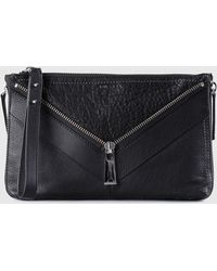 DIESEL - Leather Clutch With Zip Detail - Lyst