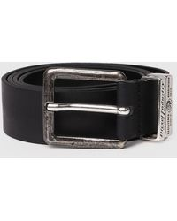 DIESEL - Durable Leather Belt With Two Metal Loops - Lyst