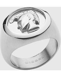 DIESEL Dx1211 Stainless Steel Icon Signet Ring - Metallic
