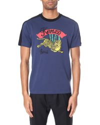 09dd2fe6 KENZO Teal Bamboo Tiger Print T_shirt in Blue for Men - Lyst