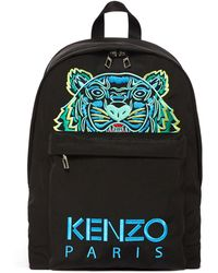 KENZO Nylon Backpack With Tiger Paris Logo - Black