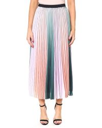 Ted Baker - Pleated Striped Midi Skirt - Lyst