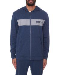 7f4aa43cc BOSS by Hugo Boss - Men's Zip Through Hooded Sweat Top Bright Blue - Lyst