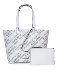 Calvin Klein - Women's Inside Out Large Repeat Logo Shopper Logo Print/black - Lyst