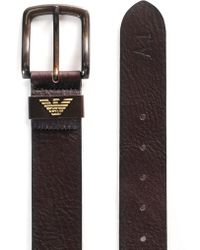 Armani Jeans - Men's Leather Metal Buckle Belt Brown - Lyst
