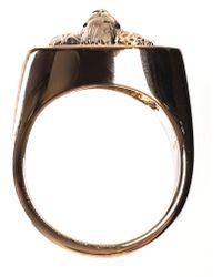 Versus - Men's Lion Head Ring Black/light Gold - Lyst