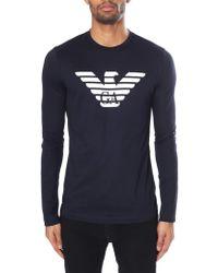 Emporio Armani Eagle Logo Long Sleeve Tee - Blue