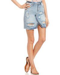 Jessica Simpson - Distressed High-waist Denim Skirt - Lyst