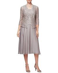Alex Evenings - Tea Length Chiffon Mock Dress With Open Cardigan - Lyst