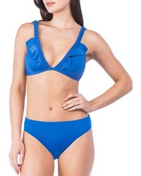 Kenneth Cole Reaction - Ready To Ruffle Smocked Halter Ruffle Bikini Swimsuit Bra Top - Lyst