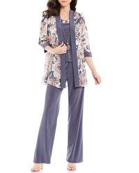 R & M Richards R M Richards Metallic Floral 3 Piece Duster Pant Set - Gray