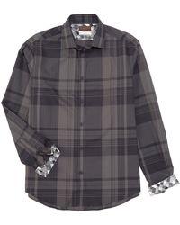 Thomas Dean Large Plaid Gray Long-sleeve Woven Shirt
