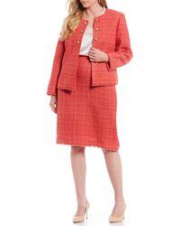 Tahari - Plus Size Boucle Fringe Trim Coral 2-piece Skirt Suit - Lyst