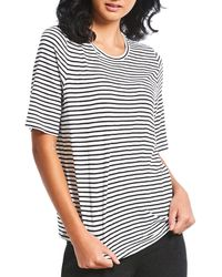 Eileen Fisher - Petite Round Neck Elbow Sleeve Striped Top - Lyst