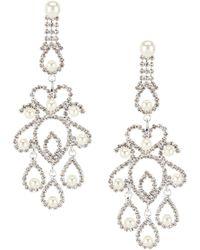 Cezanne Pearl Filigree Chandelier Statement Earrings
