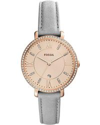 Fossil - Jacqueline Three-hand Date Light Gray Leather Strap Watch - Lyst