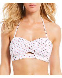 Cremieux Red Dot Twist Keyhole Bandeau Bikini Swimsuit Top - White