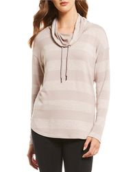 Calvin Klein - Performance Rugby Stripe Cowl Neck Hi-low Hem Knit Top - Lyst