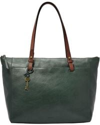 Fossil Rachel Leather Tote With Zipper - Green