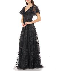 Carmen Marc Valvo V-neck 3-d Novelty Petal Detail Gown - Black