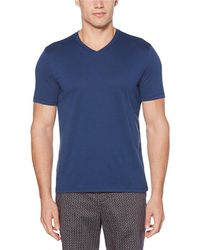 Perry Ellis - Solid Stretch Short-sleeve V-neck Tee - Lyst