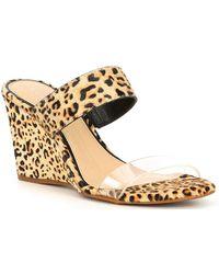 Gianni Bini Wylinn Clear Leopard Haircalf Strap Wedges - Multicolor