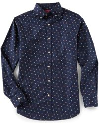 Cremieux - Slim-fit Square Print Twill Long-sleeve Woven Shirt - Lyst
